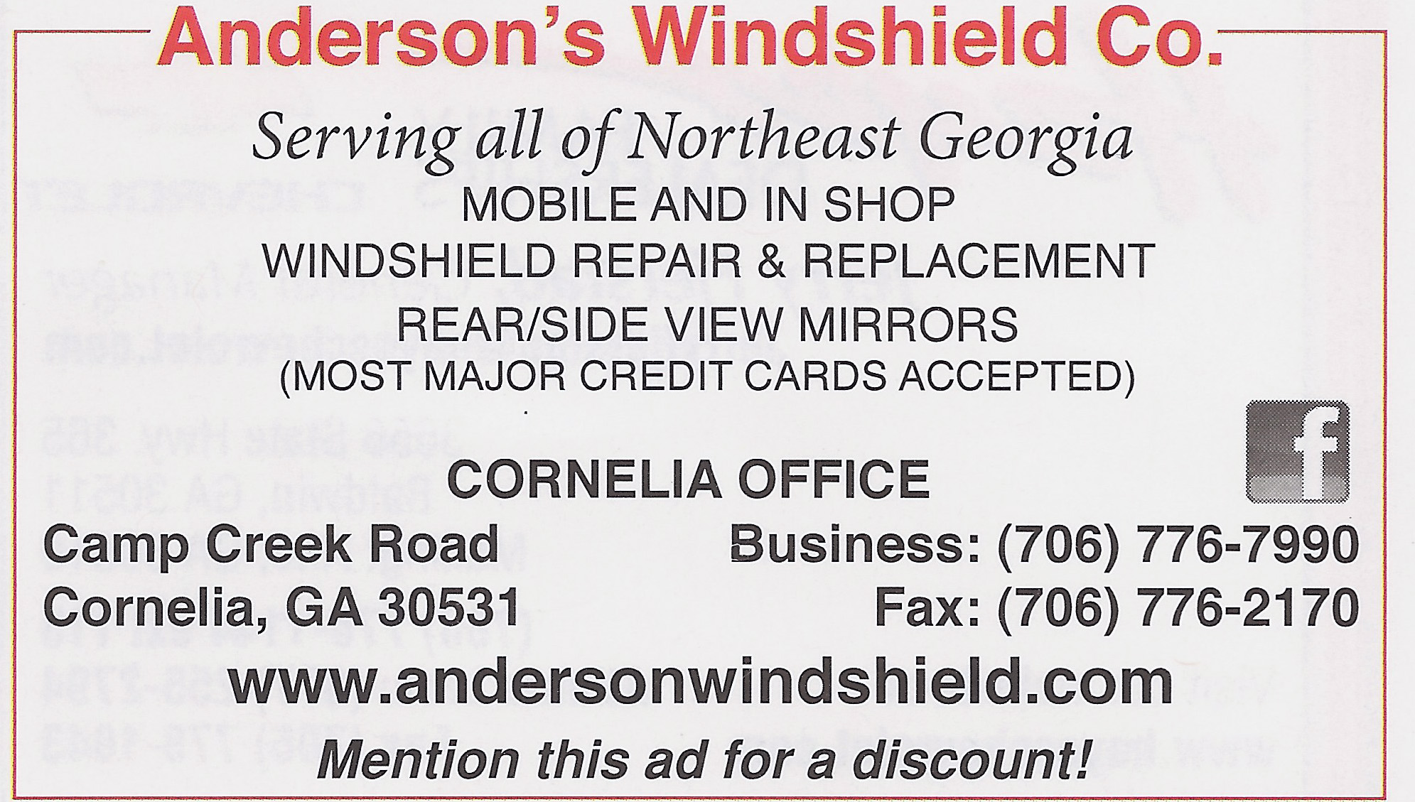 Anderson Windshield White County