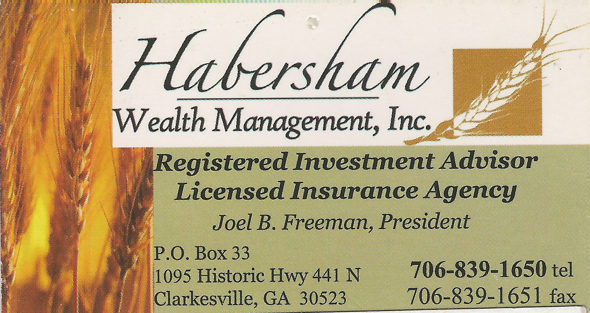 Habersham Wealth Managment Joel Freeman white county