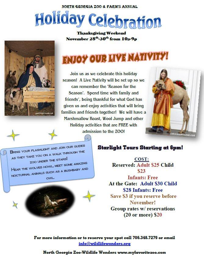 Live Nativity At North Georgia Zoo Nov 29 and 30th 6pm